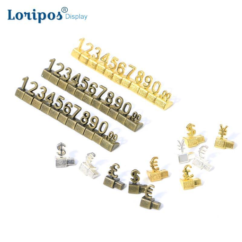 Luxury 3D Metal Shelving Adjustable Price Tag Callouts Price Display Euro Pound Price Numeral Cubes Assembly Lable Blocks Stick