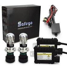 Safego H4 9003 9008 Bixenon HID kiti 35 W/55 W Hi/Lo işın bi xenon kafa lambası ampulleri + röle kablo demeti + dijital ince balast