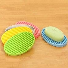Fashion Silicone Flexible Soap Dish Plate Bathroom Drain Tray Home Storage Accessories