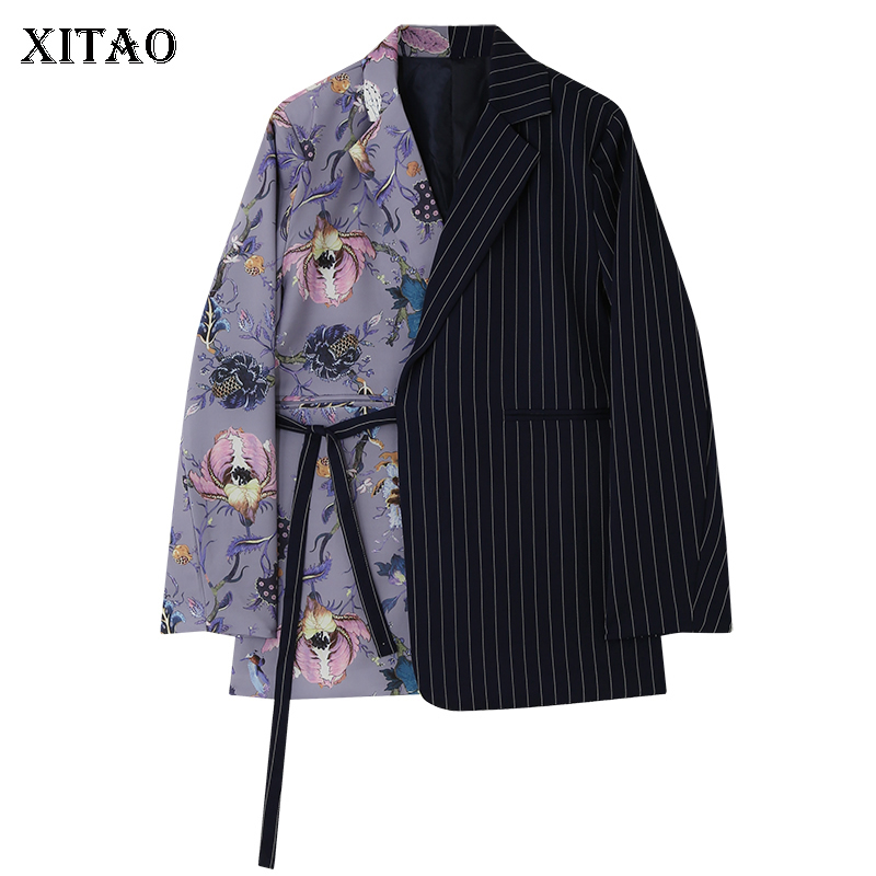 XITAO Patchwork Striped Hit Color Sashes Casual Blazers Women 2020 Spring Tide New Style Notched Collar Long Sleeve Coat GCC3348