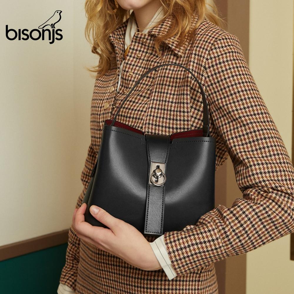 BISONJS кожаная женская сумка высокого качества, сумка через плечо, женская сумка через плечо, Повседневная сумка-мессенджер с верхней ручкой ...