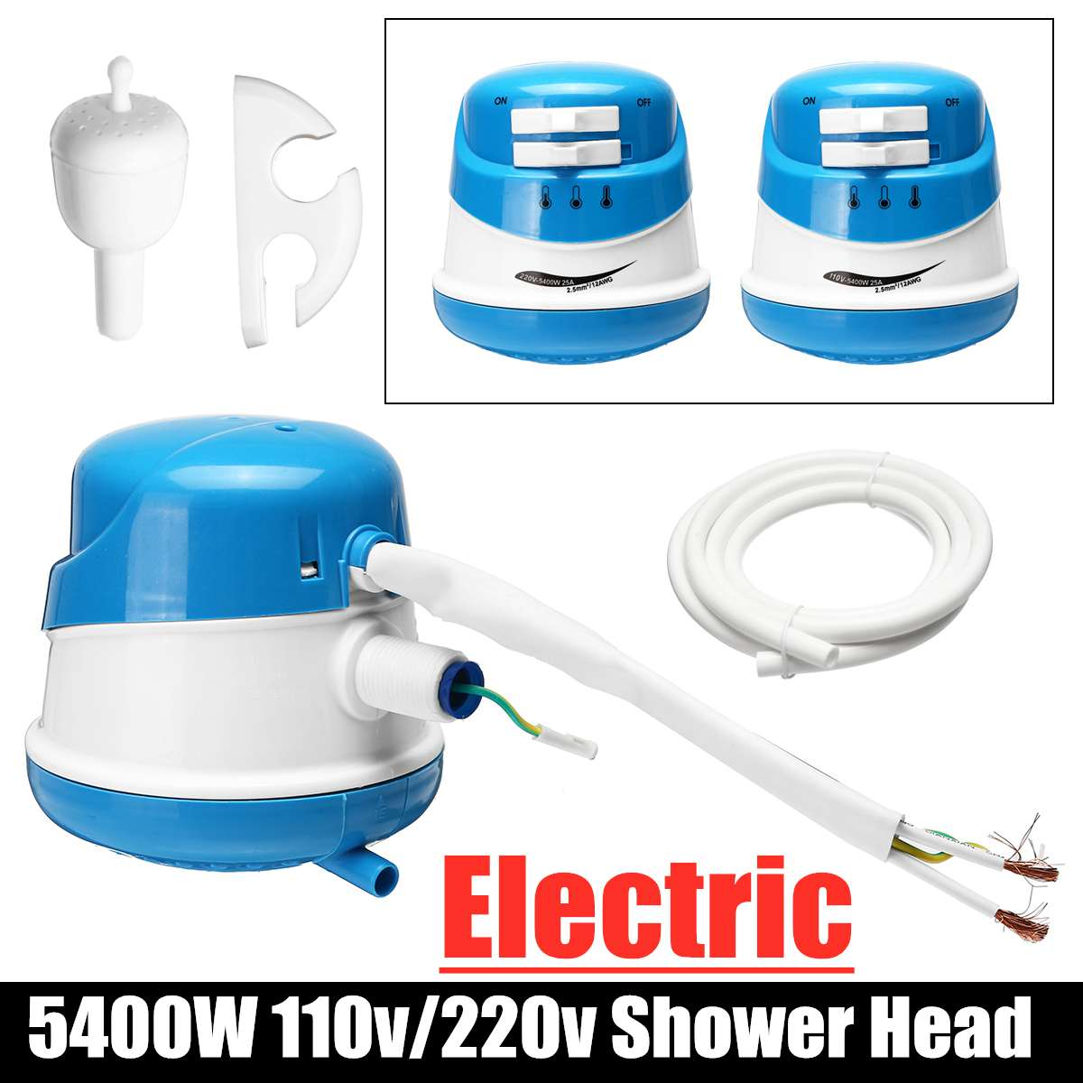 5400W Hot Water Heater Shower Heater Faucet Instant Hot Water Tap Shower Tankless Electric Faucet Instantaneous Bathroom