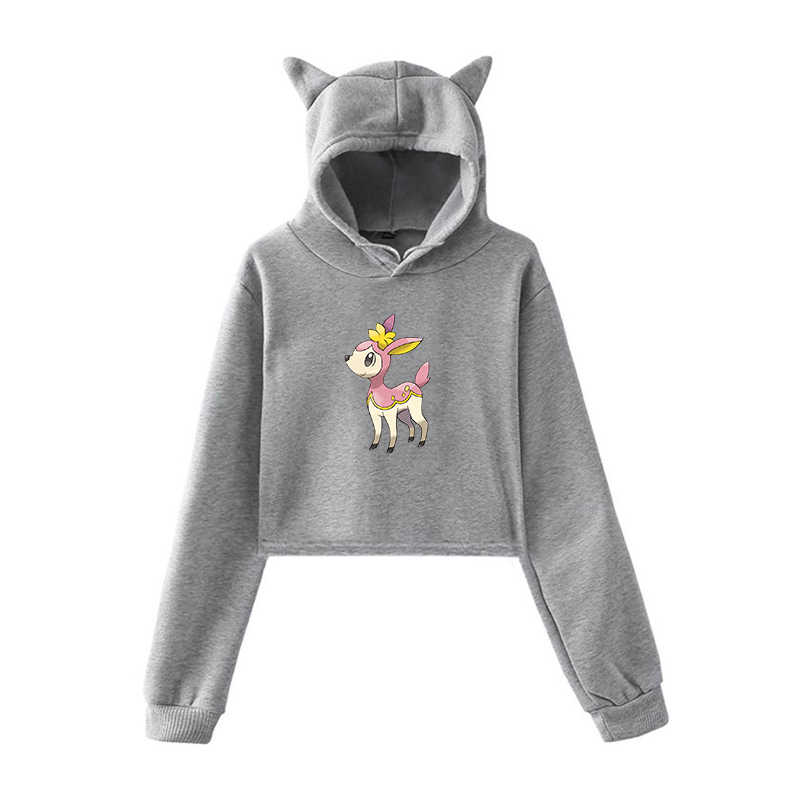 Худи с длинными рукавами и принтом Покемон для девочек-подростков, осенняя уличная Толстовка Harajuku для женщин, Модный женский пуловер с капюшоном