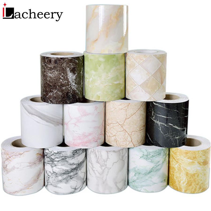 Practical Waterproof Baseboard Wall Sticker Decorative Film Self Adhesive Waist Line Living Room Marble Wallpaper Borders Decals