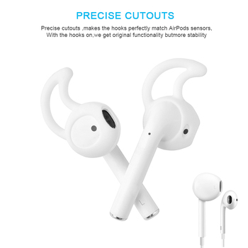 2020 For Apple AirPods Replacement Soft Silicone Antislip Ear Cover Hook Bluetooth Earphone Earbuds Tip Earphone Case Protector image