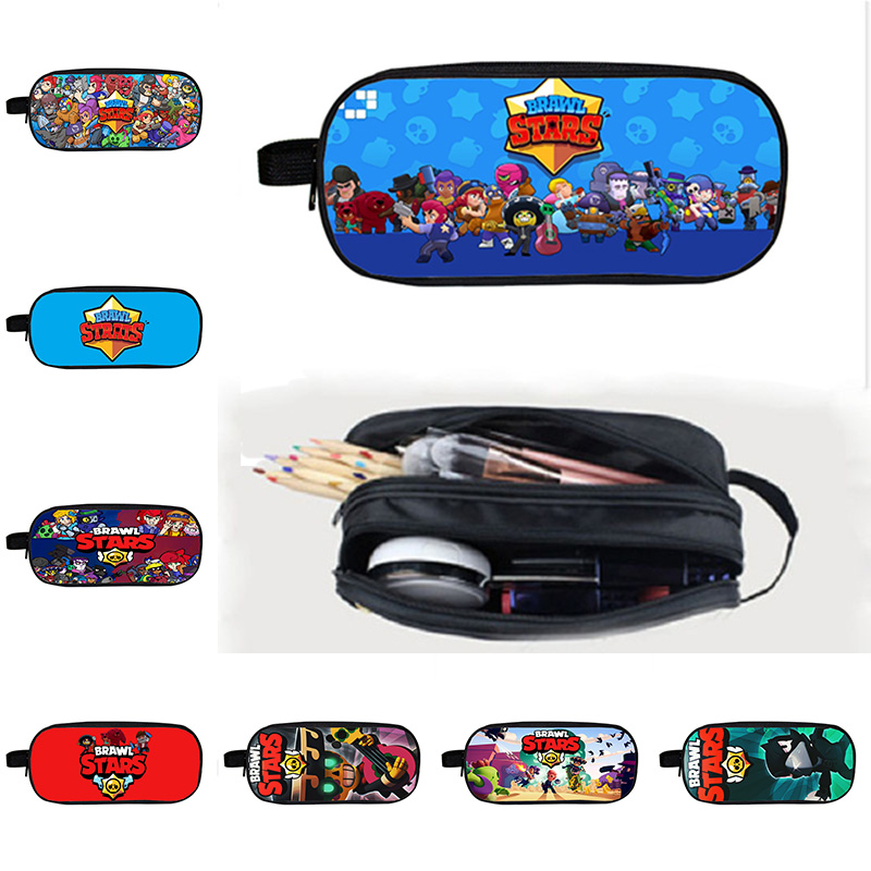 Cosmetic Cases Stationary-Bag Brawl Stars Boys Children Cartoon School-Supplies Girls
