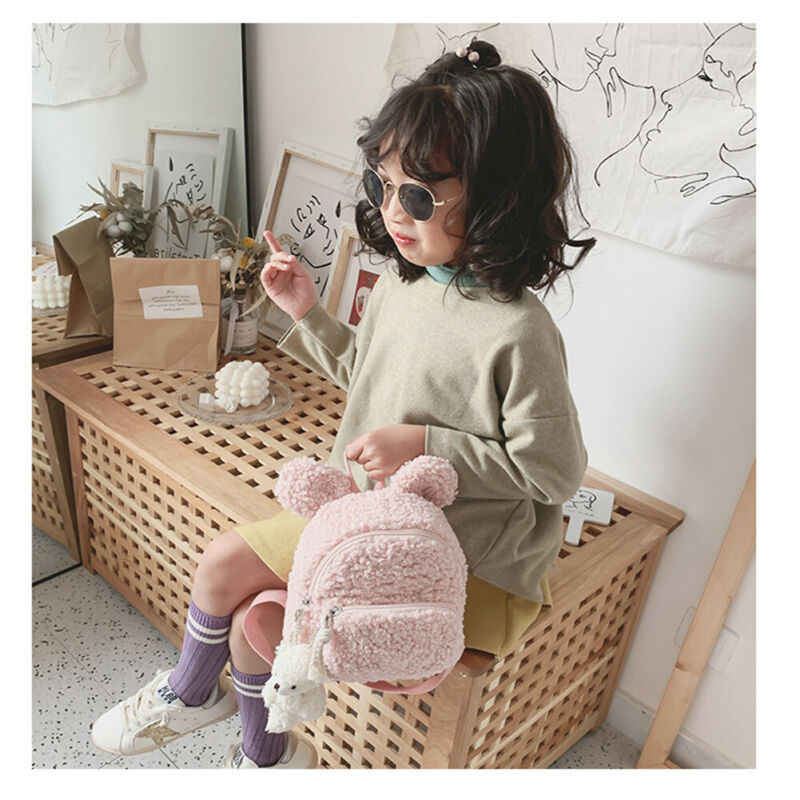 Kleinkind Kind Kinder Junge Mädchen Woolen Cartoon Tier Rucksack Schule Tasche Rucksack