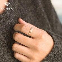 여성을위한 CC 스테인레스 스틸 간단한 우아한 손가락 반지 얇은 조절 연인 반지 너클 링 장신구 도매 파인 YJ14992