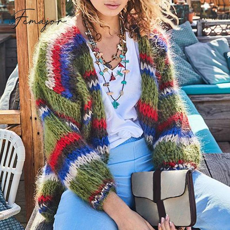 Femajor Women Autumn Winter Striped Cardigans 2019 Female Fashion Multicolor Knitted Jackets And Coats Ladies Sweater Outerwears