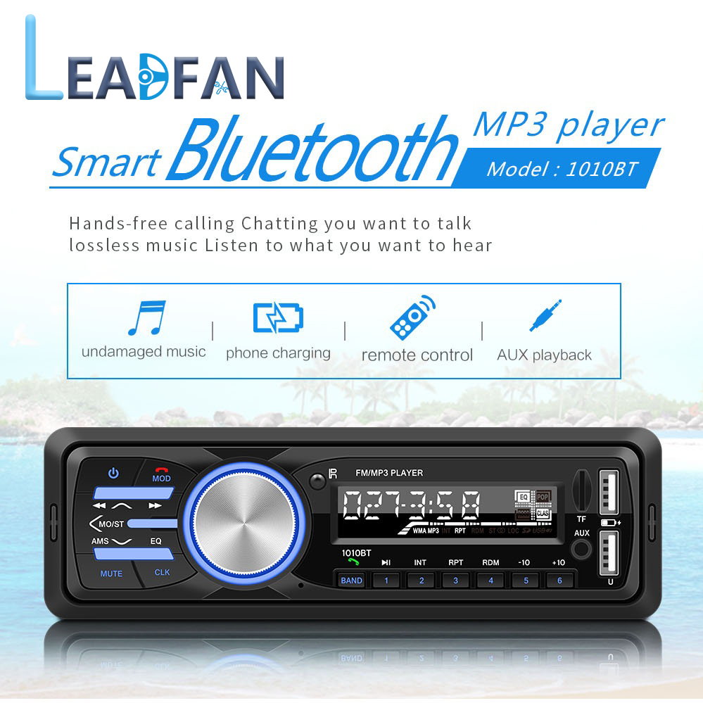 Leadfan 12V Car Radio Car Stereo Bluetooth In-dash 1 Din FM Aux Input Receiver SD USB MP3 ISO Connector autoradio image