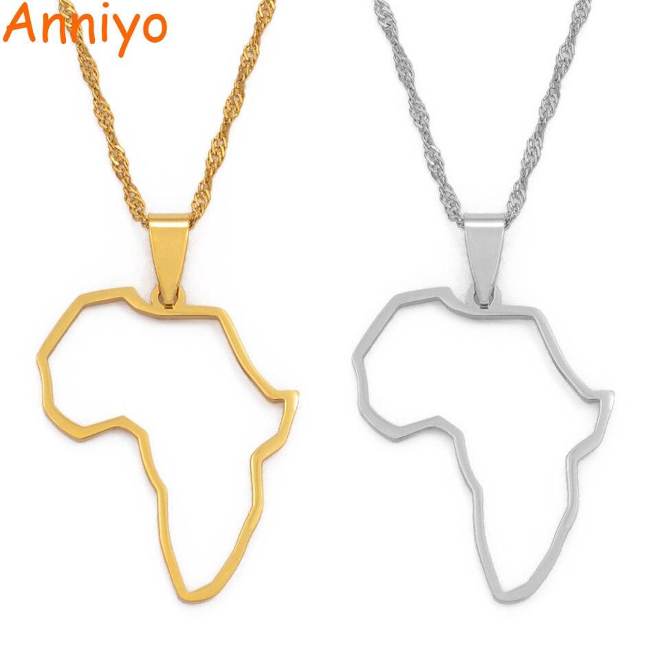 Anniyo Африка профиль карта кулон ожерелья серебро/золото цвет карты Африки Ювелирные изделия Эфиопский нигерийский Гана Конго этнические#113521