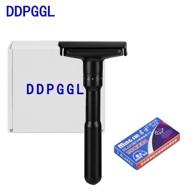 DDPGGL Men Double Shaver Razor Luxurious Black Adjustable Safety Razor Classic Stand Safety Razor Men Shaving With 5 Blades