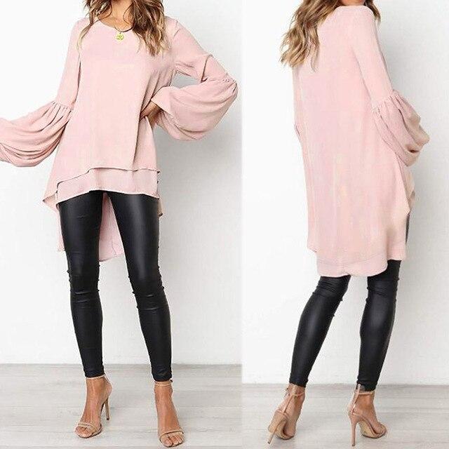 Lantern Sleeve Layered Shirts Women Asymmetrical Blouse 2019 ZANZEA Fashion Tops Female Casual Blusas Femininas Plus Size Shirts 2