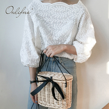Ordifree 2019 Summer Women Embroidery Blouse Top Casual Cotton White Lace