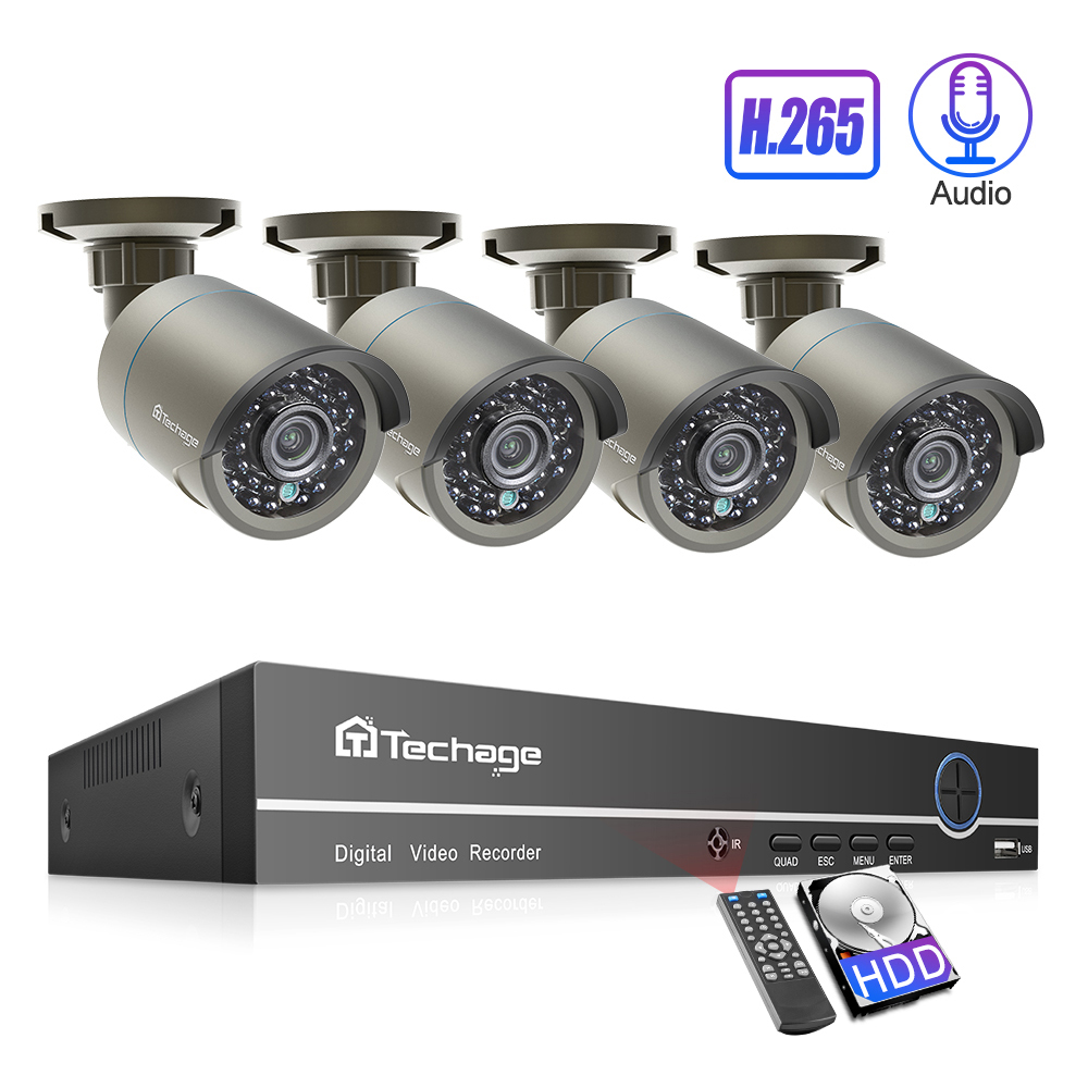 Techage 4CH 1080P h.265 POE Camera NVR System 2mp Audio Sound CCTV Surveillance Kit Weatherproof Video Home Security Set 2TB HDD-in Surveillance System from Security & Protection