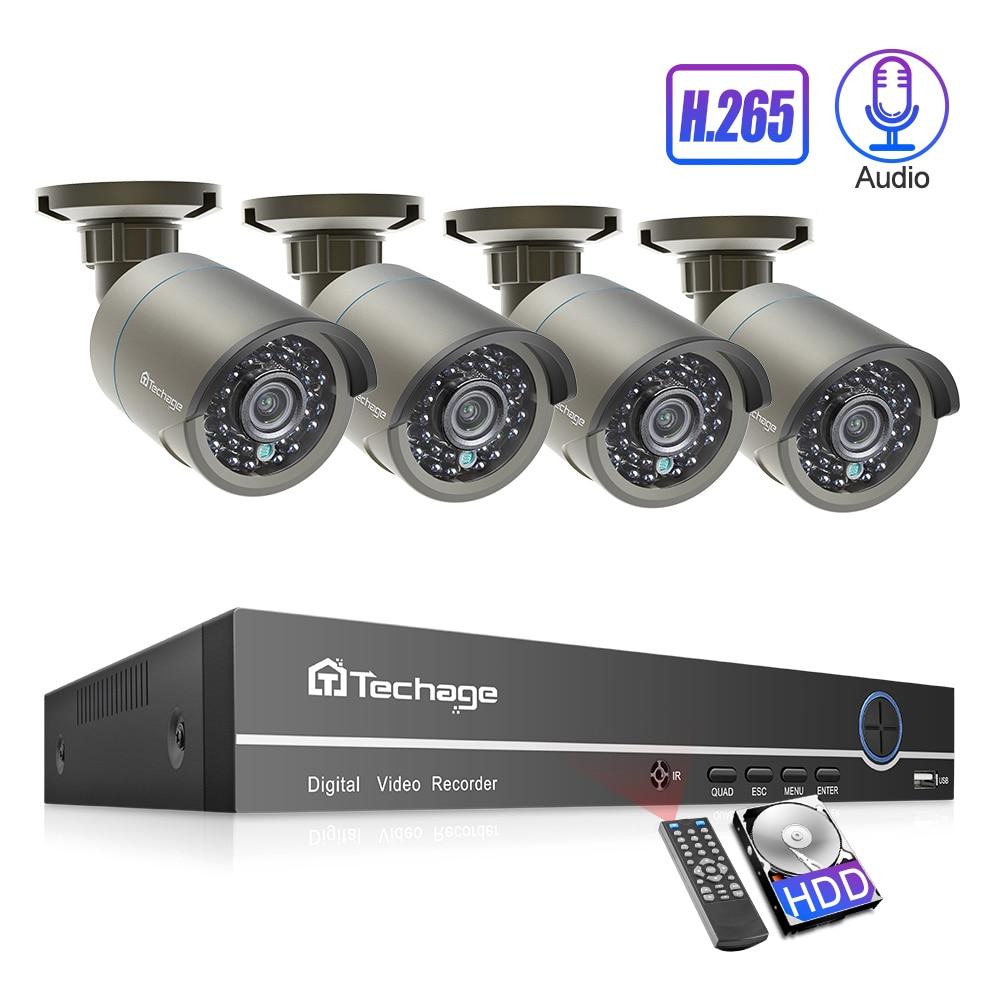 Techage 4CH 1080P H.265 POE Camera NVR System 2mp Audio Sound CCTV Surveillance Kit Weatherproof Video Home Security Set 2TB HDD