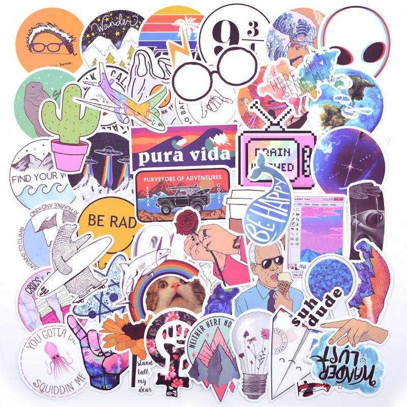 20 Style Vsco Stickers Things 50PCS Pack Cool Pink Girl Stickers For On The Laptop Fridge Phone Skateboard Suitcase Sticker-in Stickers from Toys & Hobbies