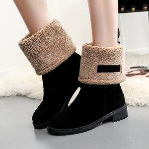 Image 4 - SWYIVY Bò Da Lộn Nêm Nữ Mùa Đông Giày Nữ Sang Trọng Ngắn 2019 Ấm Ủng Giày Bốt Nữ Đen Giày Người Phụ Nữ Cao Su boot