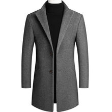 Thoshine Brand Winter 30% Wool Men Thick Coats Slim Fit Turn Down Collar Male Fashion Wool Blend Outerwear Jackets Casual Trench