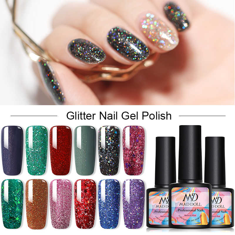 Gila Boneka Glitter Kuku Gel Polandia Mengkilap Payet Gel Rendam Off Uv Gel Varnish DIY Nail Art Gel Varnish DIY