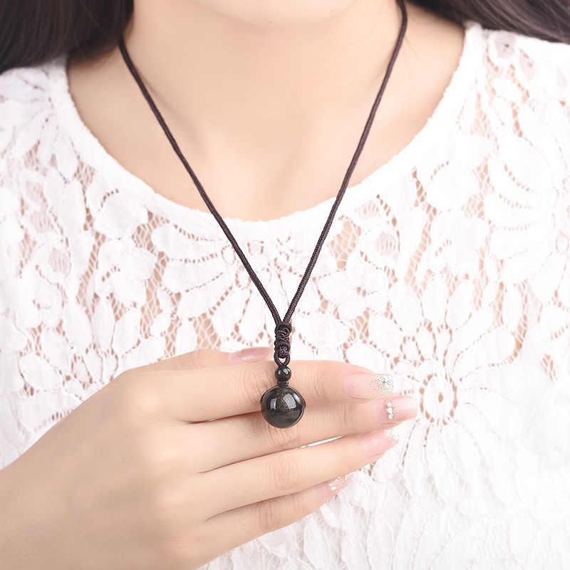 16mm preto obsidian glod obsidian tigre olho pedra pingente transferência sorte amuleto pingente de cristal colar jóias