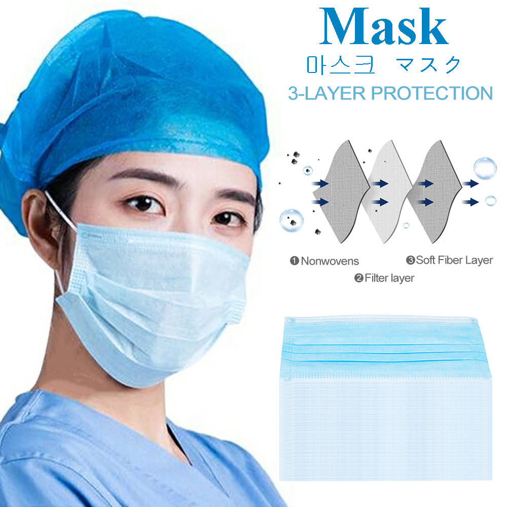 10/20/50/100/200/400 Pcs 3 Layers Thickened Disposable Maskers Mouth Protection Face Covers Non-Woven Blue Masker Filter BFE 90%