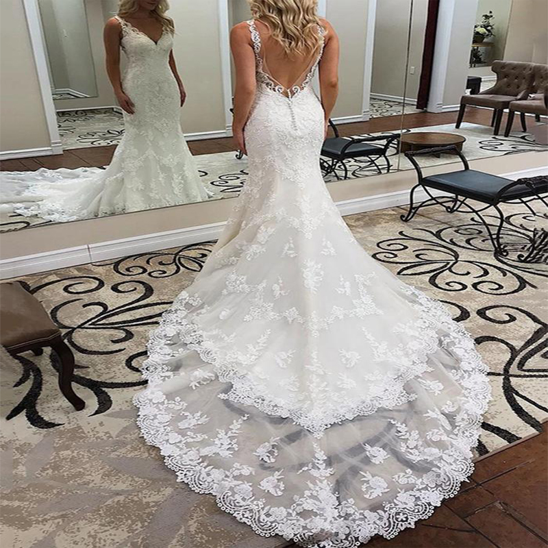 Angel Married Mermaid V-neck Floor-length Lace Backless  Sleeveless Engagement Wedding Dresses