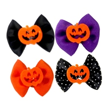 10 Pcs/lot Dog Cloth Bowknot Rubber Bands Hair Headwear For Pets Cat Dog, Pet Grooming Accessories Halloween