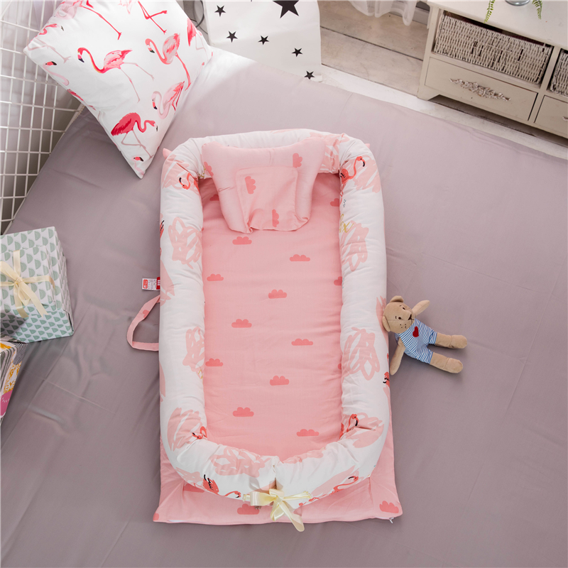 Portable Baby Travel Bed Newborn Bionic Bed Baby Crib Bumper Removable And Washable Playpen Crib Baby Cradle Guardrail Nest Baby