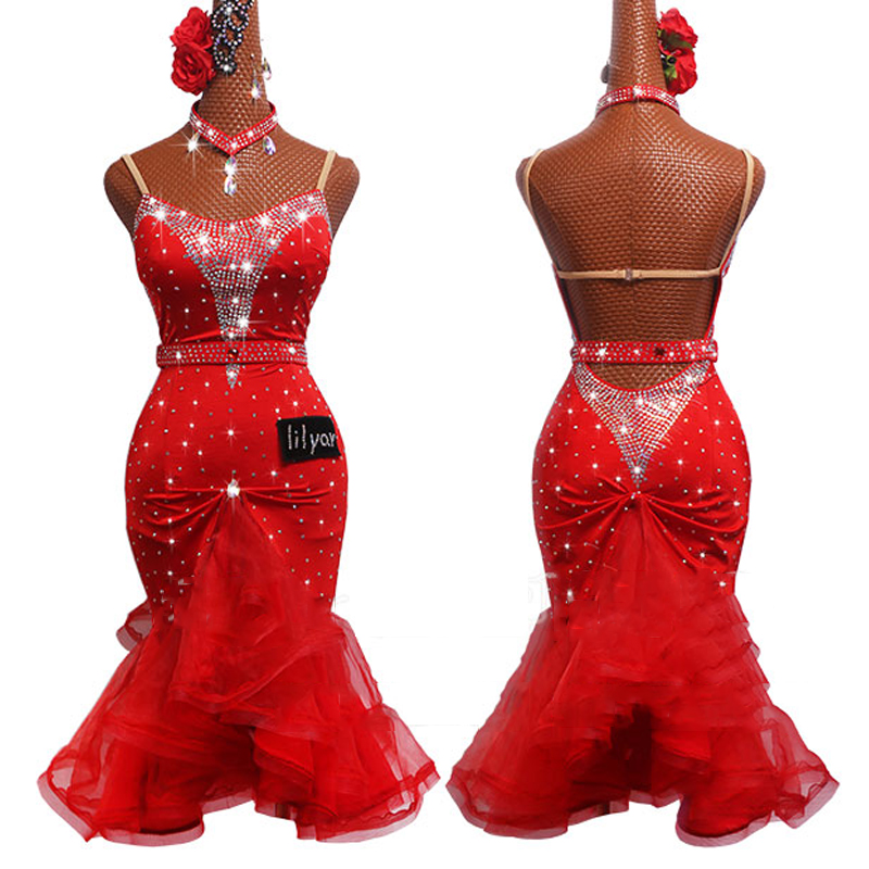 Latest Latin Dance Dress Female Rhinestone Dress Fish Bone Skirt Red Salsa Dress Dancing Competition Costume Latin Dress BL2538