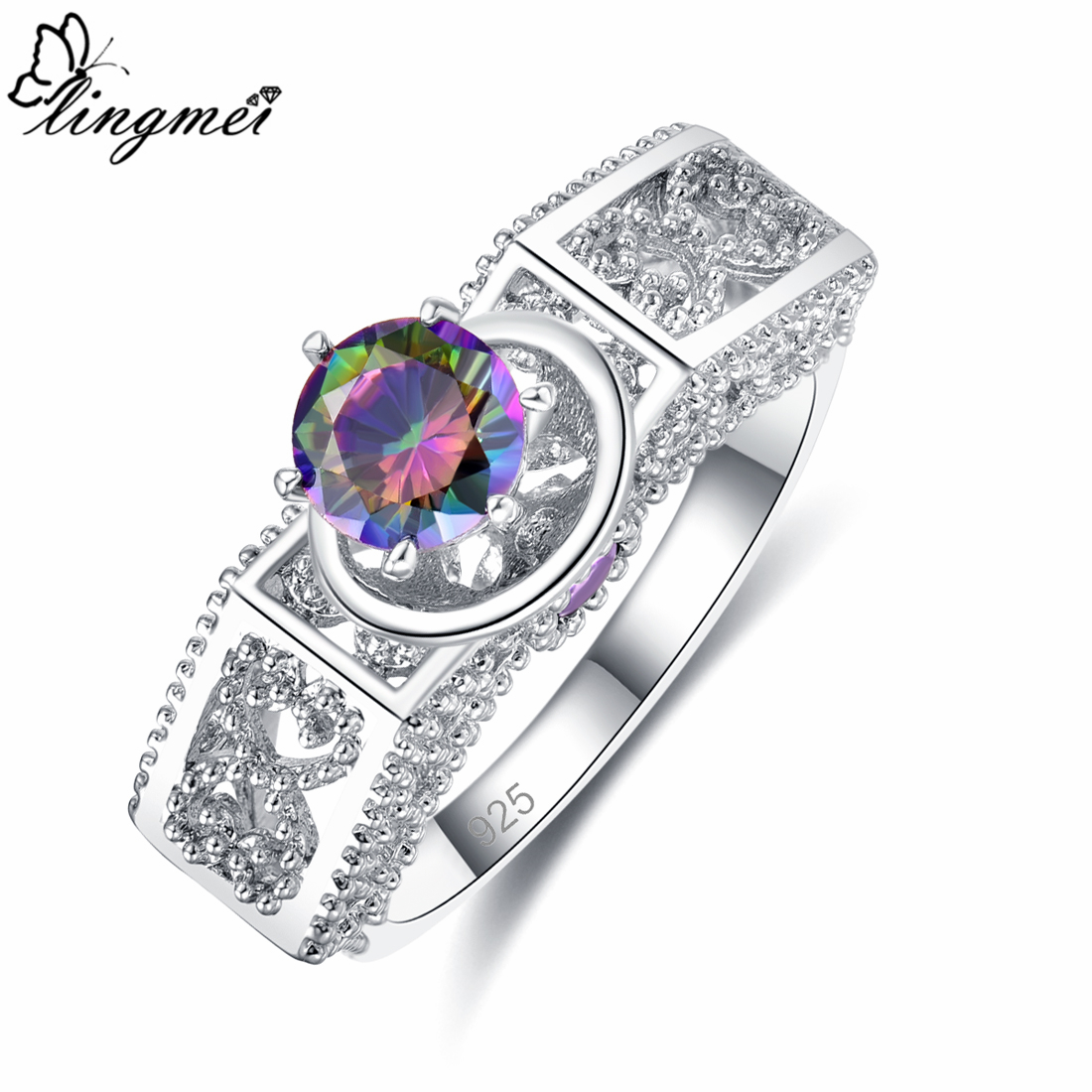 lingmei Engagement Wedding Band Round Zircon Fashion Jewelry 925 Silver Ring Size 6 7 8 9 Dazzling Anniversary Party Rings