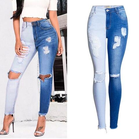 Womens Denim Jeans Ladies Fashion Sexy Stretch Slim Stitching Long Pencil Pants Pakistan