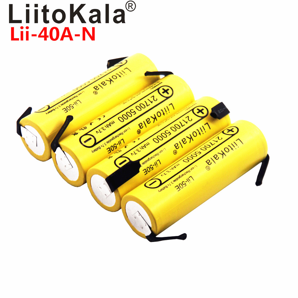 LiitoKala Lii-40A IMR 21700 3750mAh S30 18650 3000mAh 40A High Capacity Protected Flat Top Rechargeable Li-ion Battery+DIY Nick