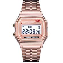 Women Men Unisex Watch Gold Silver Vintage Stainless Steel LED Sports Military