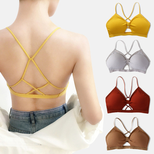 Cotton Bras For Women Top Underwear Seamless Tube Top Back Hollow Lingerie Wire Free Intimates Halter Bandage Sexy Bralette