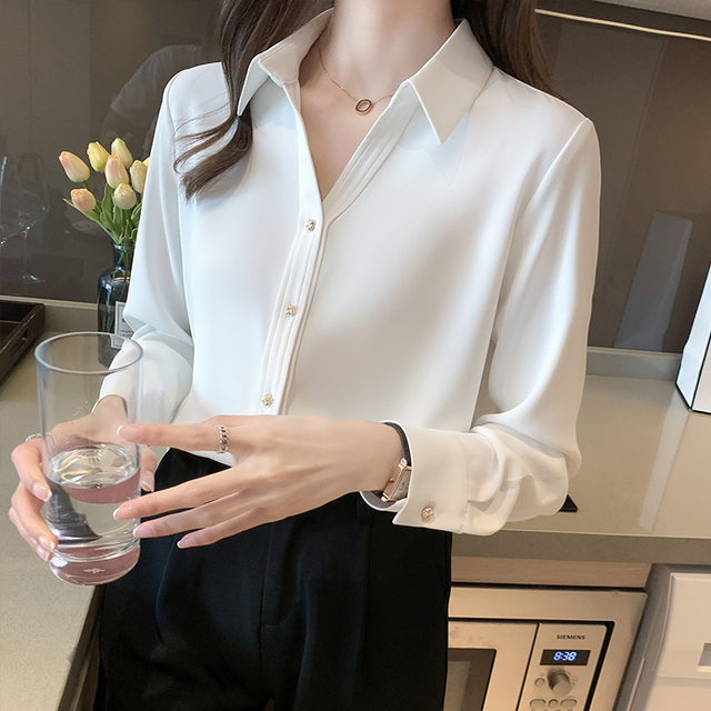 Spring Loose Temperament Vertical Sense Blouse Metal Buttons Fashion Women's Long-sleeved White High-end Satin Chiffon Shirt 4