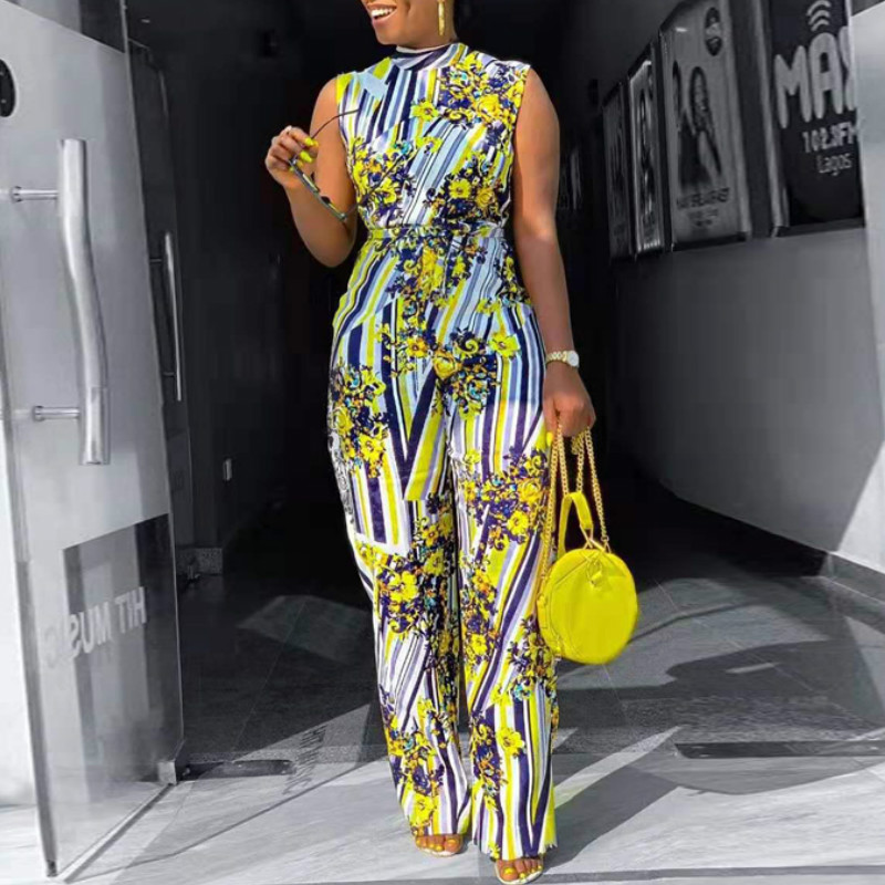 Women Jumpsuit Printed High Waist Sleeveless Elastic with Waist Belt Wide Leg African Lady Large Size Casual Fashion New Summer