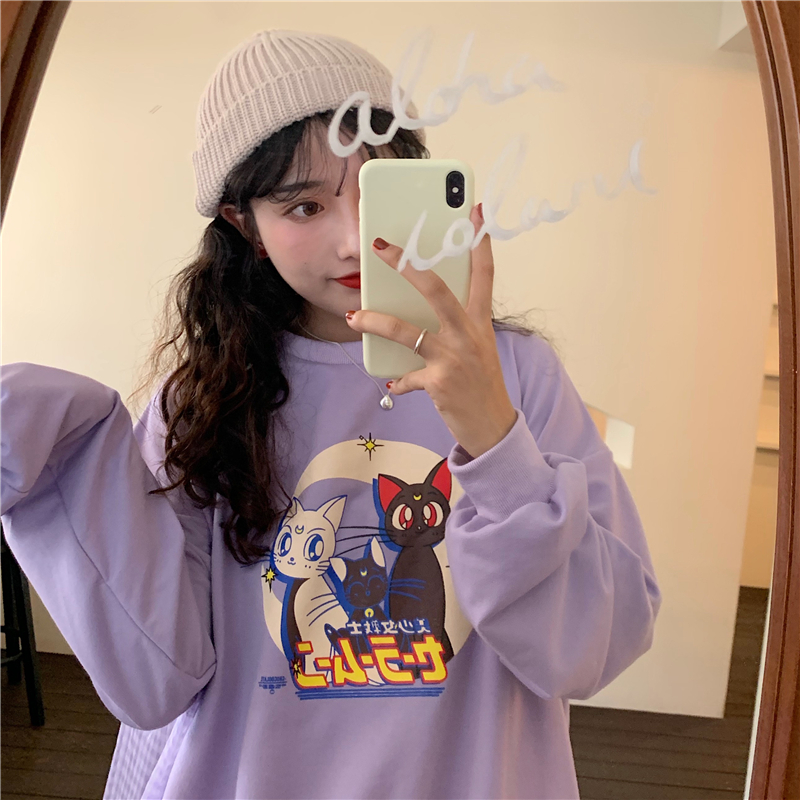 Cartoon Print Hoodies Autumn Sailor Moon Cat Letters Harajuku Streetwear Long Sleeve Pullover Thin Sweatshirt Women Outwear W275