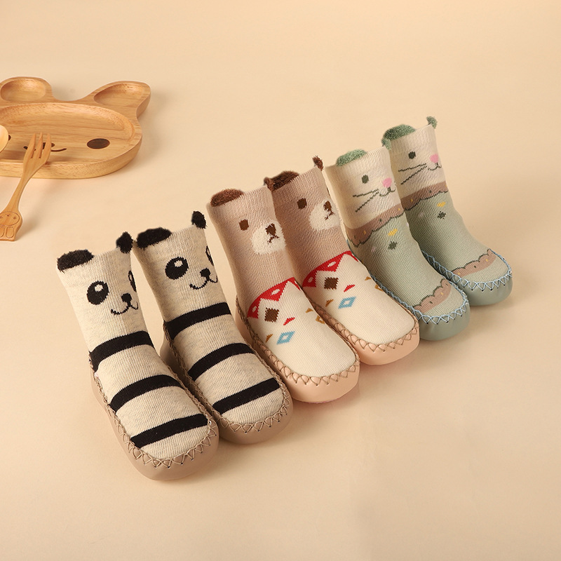 Baby Winter Socks With Rubber Soles Infant Newborn Baby Girls Boys Children Floor Socks Shoes Anti Slip Soft Sole Sock For 0-24M
