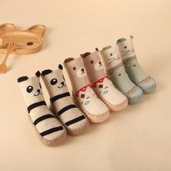 Calcetines de invierno para bebés con suelas de goma para bebés recién nacidos niñas niños calcetines de piso zapatos antideslizantes calcetín de suela suave para 0-24M