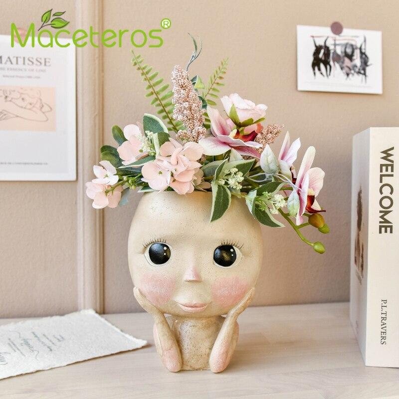 Новинка человек лицо ваза украшение большой глаза кукла смола горшок фигура скульптура поделки хранение контейнер цветок сад украшение
