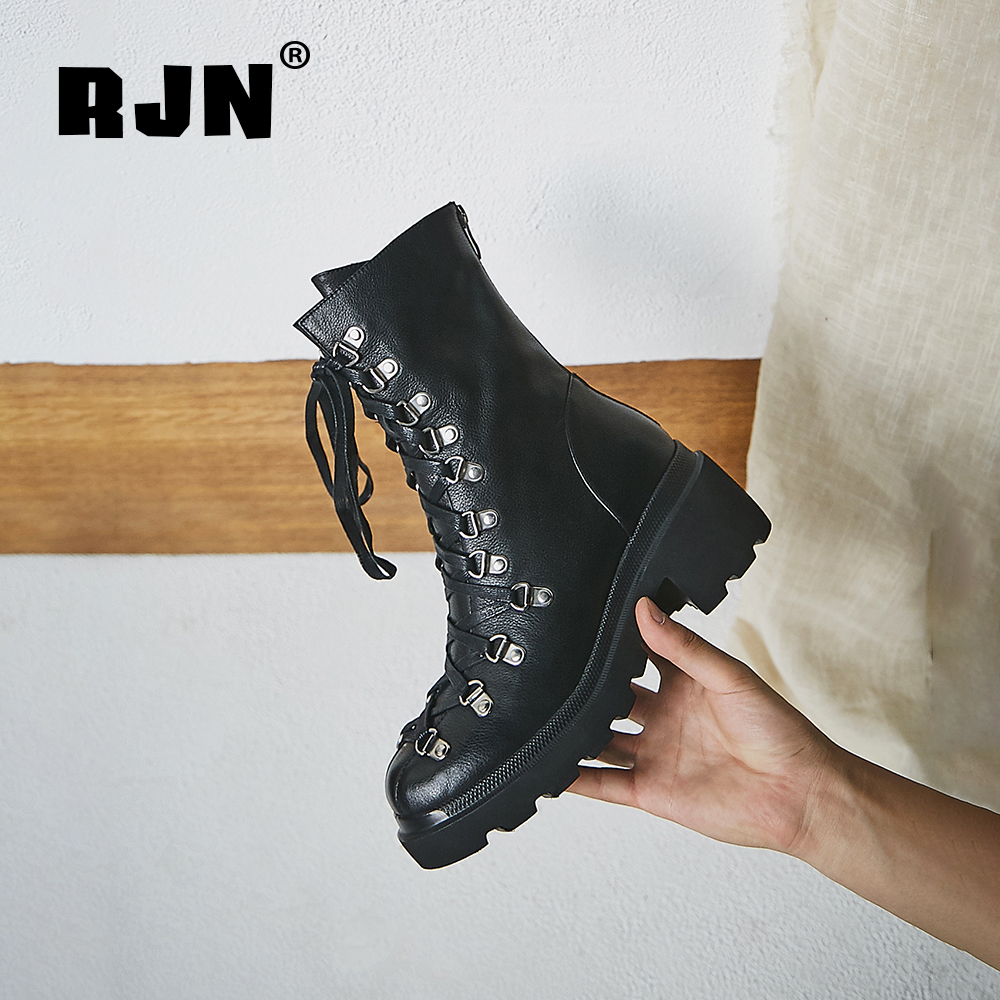 Hot Sale RJN Cow Leather Ankle Boots Fashion Lace-up Decoration Comfortable Round Toe High Heel Zipper Shoes Women Boots For Winter RO69
