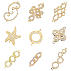 Juya DIY Bracelet Fittings Supplies Gold Infinity Charm Connectors Accessories For Women Bracelet Necklace Earring Making