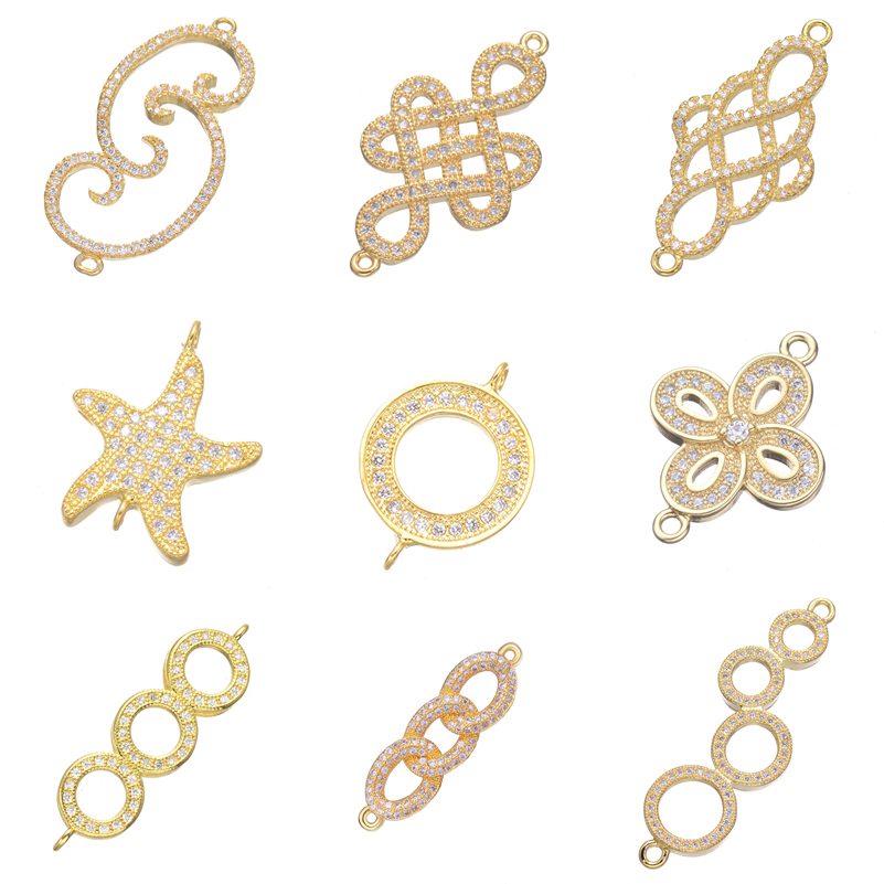 Juya DIY Bracelet Fittings Supplies Gold/Silver Infinity Charm Connectors Accessories For Women Bracelet Necklace Earring Making