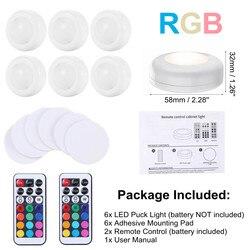 Touch Sensor LED Onder Kasten Verlichting RGB Warm Wit LED Puck Licht Voor Garderobe Trap Closet Night Lamp Afstandsbediening 6PCS