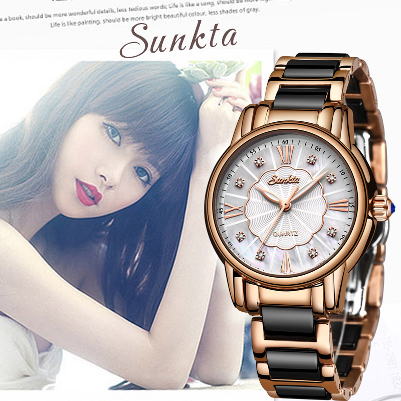 SUNKTA New Women Watches Diamond Watch Women Waterproof  Ceramics Strap Ladies Wrist Watches Top Brand Clock Relogio Feminino