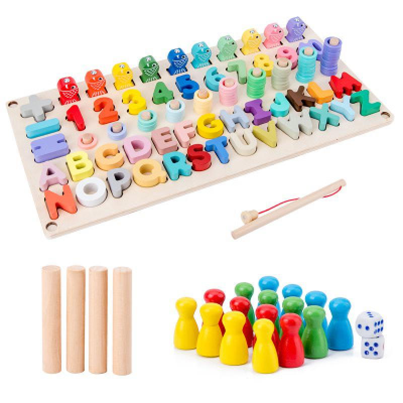 Montessori Toys Children Flying Chess Alphanumeric Fishing Three In One Jigsaw Puzzle Early Education Children Gift Wooden Toys