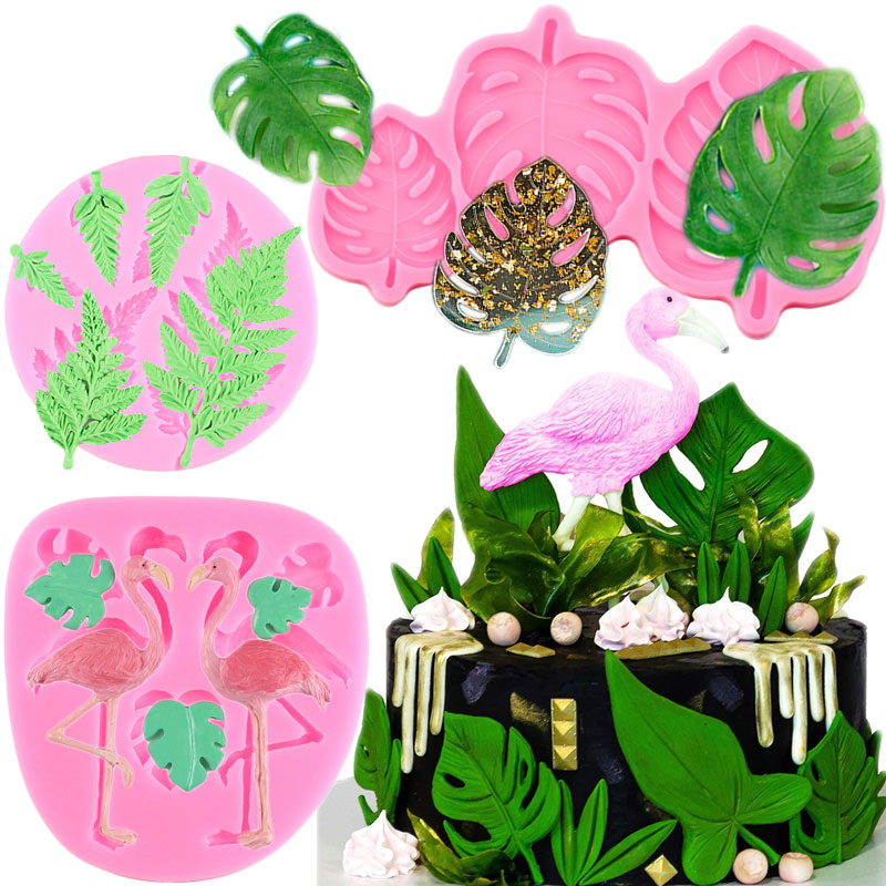 3D Flamingo Turtle Leaf Silicone Mold DIY Party Cupcake Fondant Cake Decorating Tools Candy Polymer Clay Chocolate Gumpaste Mold