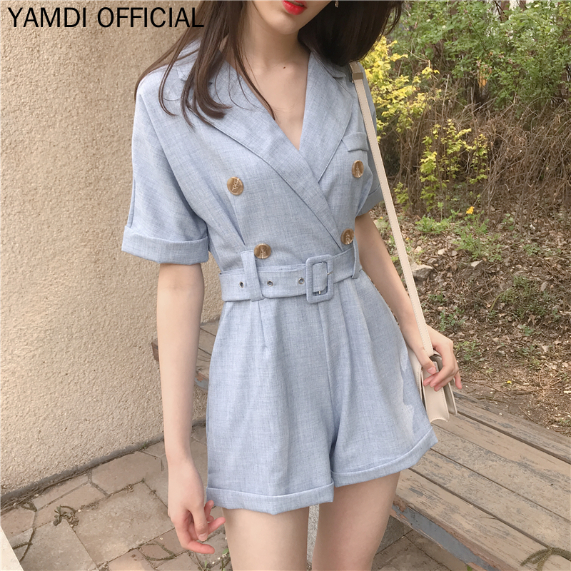 YAMDI Vintage Beach Summer Jumpsuits Women 2019 New Fashion Korean Sashes Suit Rompers Playsuits Female Wide Leg Shorts Jumpsuit