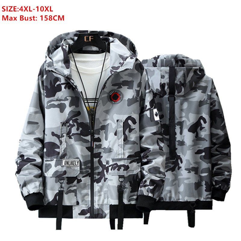 Military Jacket Cargo Coats Men 6XL 8XL 9XL 10XL Plus Size Mens Jackets And Coat Man Spring Autumn Large Camouflage Black Hoodie